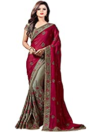 Arohi Designer Women's Georgette Saree with Blouse Piece (Pink, Free Size)