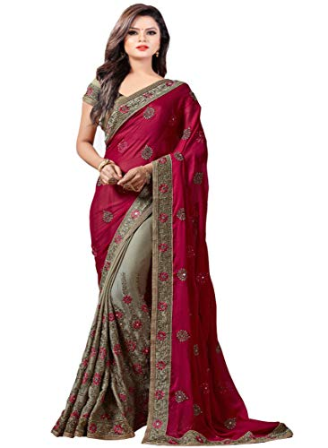 Arohi Designer Women\'s Georgette Saree with Blouse Piece (Pink, Free Size)