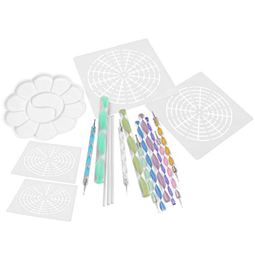 SUPVOX 18 Stücke Mandala Punktierung Werkzeuge Ton Stift Ton Werkzeug Set Punktierung Stift für DIY Malerei Tonwarenlehm Nail Art (Tray 12 Paint)