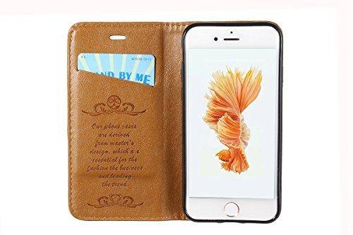 iPhone 7 Plus Handycover, LifeePro für iPhone 7 Plus Crazy Horse Pattern PU Leder Handycover mit Flip Stand Funktion Fotorahmen und Kartensteckplätze TPU Silikon Weiche Abdeckung Magnetverschluss Schw Hellbraun