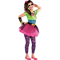 Teens 1980s Totally Awesome Costume New Girls Neon Party Outfit Tutu Fancy Dress