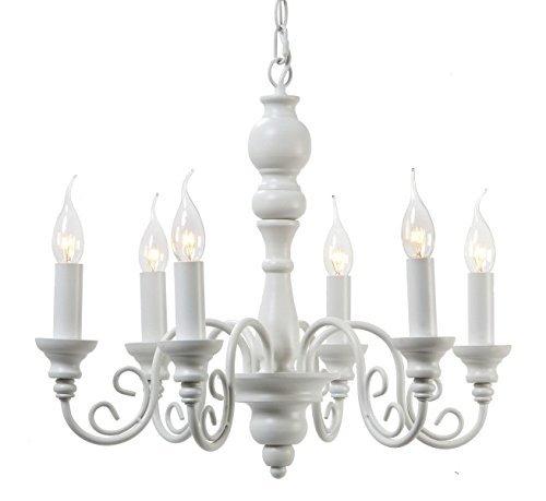 Deckenlampe Maxima Light und Living Weiss Kronleuchter 64cm Eisen Lampe Hängelampe