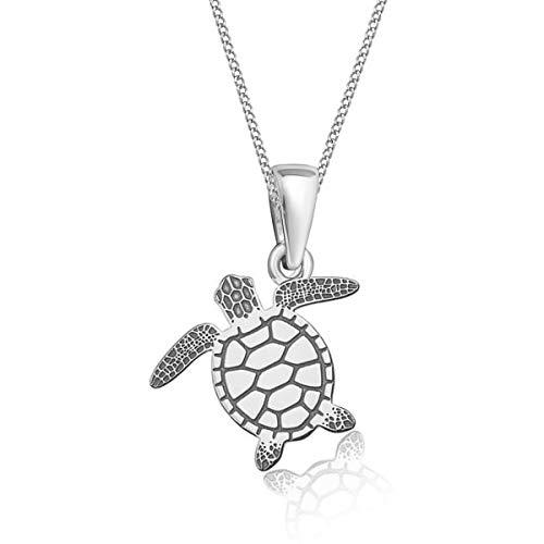Gravur kleine Tiere Anhänger mit Halskette 925 Echt Silber Mädchen Kinder (12) Schildkröte / 24x16mm, 38) (Sterling Ring Silber Pfote)