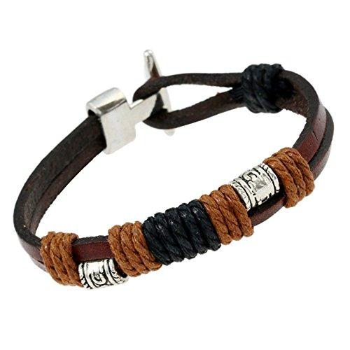 AIUIN Leder Türkisch Armband Luck Schutz Herren Frauen Geflochtene Schnur Verstellbare Kette Retro,mit Einer Schmucktasche