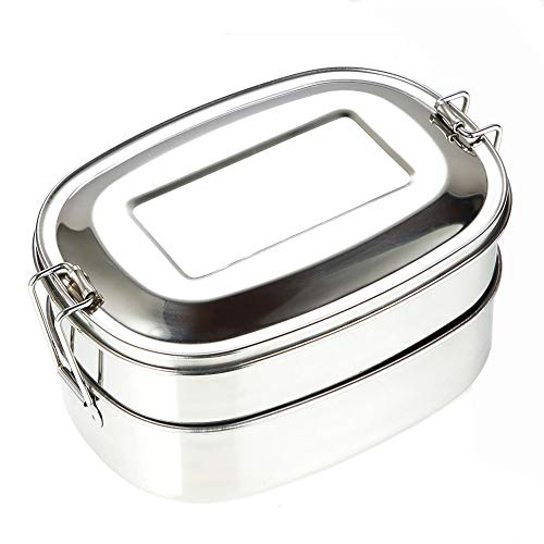 Ingrirt5Dulles 500ml doppelte auslaufsichere Edelstahl-Lunch-Lunchbox für Lebensmittelbehälter/robustes Wischtuchmaterial   Geeignet für Erwachsene   Spülmaschinenfest und Mikrowelle Doppelgitter (Planetbox-lunch-box)
