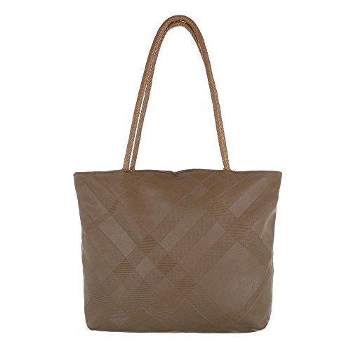 b63daed1ff820 iTaldEsiGn Damentasche Mittelgroße Schultertasche Handtasche Kunstleder  TAF3589 Braun