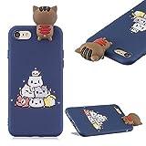 CESTOR Cartoon Silikon Hülle für iPhone 7/8,Niedlich 3D Muster Ultra Dünn Weich Gummi TPU Etui Anti-Kratzer Bumper Rückseite HandyHülle für iPhone 7/8,Süße Katze
