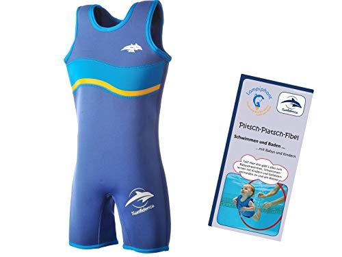 Nautische Badeanzüge (Lampiphant® + Konfidence Warma Wetsuit, Kinder-Badeanzug aus Neopren mit Plitsch-Platsch-Fibel, nautisch blau, Größe 4-5 Jahre)