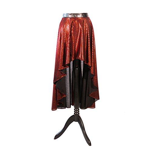 SiaLinda Rock Ardia erotisch schwarz-rot, Pailettendruck, Leichter Jersey, offen geschlitzt asymmetrisch, Gr. S/M. Angebot, statt 74,95 EUR