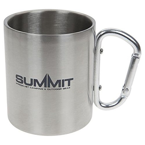 Summit 300ml Stainless Steel Mug - Double Wall Carabineer Handled - Camping Hiking