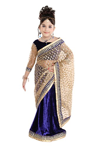 Pratima Girl's Fashionable Half Velvet Half Glitter Net Royal Blue Ready to...