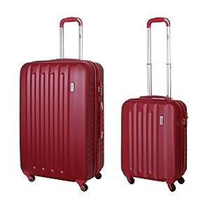 974859751 Hartschalen Koffer Set Trolley Case Handgepäck TSA Schloss Dunkel Rot 811