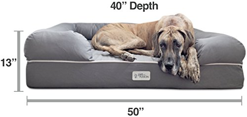 PetFusion Ultimate Jumbo XX Large WATERPROOF Memory Foam Dog Bed. (127x102x33cm; Grey). Solid 15cm foam. [Replacement covers & matching blankets also available]