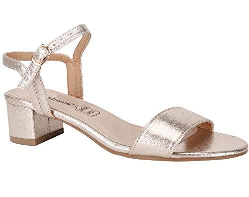 MaxMuxun Zapatos Tacón Bajo Cuadrado Clásico Cordones