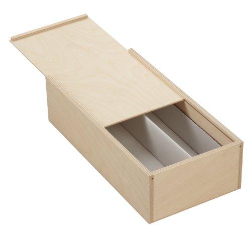 3 x Holzbox mit Schiebedeckel für 2 x 0.7 Liter Flaschen - Maße: 36x18x10cm - Pappelsperrholz - unbehandelt - naturbelassen - mit herausnehmbarer Pappeinlage *** Holzkiste - Flaschenkiste - Flaschenbox - Weinflaschen - Wein - Weinbox - Weinkiste - Weinkassette - Flaschenkassette - Holzartikel ***