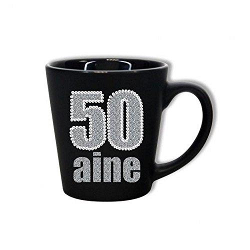 Mug Anniversaire 50 ans - Noir et Paillettes
