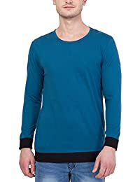 Unisopent Designs Men's Cotton Round Neck Long Sleeve T-Shirts With Contrast Ribbed Cuffs