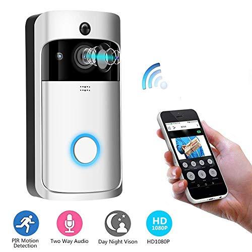 Video Türklingel, 1080p HD 166 Grad Weitwinkel Wireless Anti-Theft Kamera WLAN IR Nachtsicht, PIR Bewegungserkennung, 2D / 3D Rauschunterdrückung, App Steuerung(Silver)(Batterie Nicht enthalten) -
