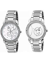 Zerk White Dial Metal Strap Analog Watch Combo For Women