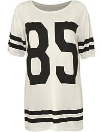 WearAll - Mujeres Manga Corta Camiseta 85 Imprimir Béisbol Jersey Holgado Top