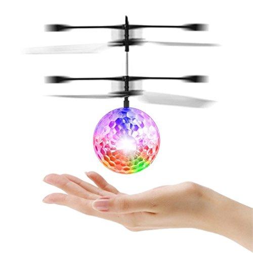 (Mini Flying Ball RC Hubschrauber Flugzeug Infrarot Handinduzierte Flug Spielzeug Drone mit Bunten Blinkende Led-leuchten für Kinder Teenager Erwachsene (1))