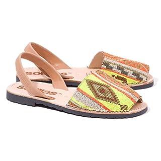 Solillas Original Menorcan Sandals - Artistica - Yellow, Orange, Tan Tribal Weave - EU Size 36 / UK Size 3