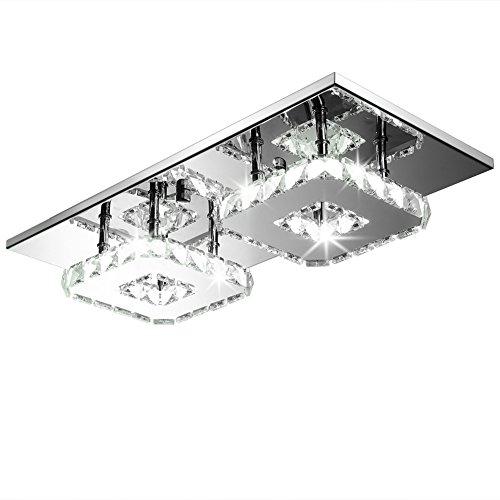Fuloon 24W Moderno Cristallo LED Lampadario A Soffitto Ciondolo a Filo Lampadina Acciaio Inox Lampadario Decorazione - a 2 luci Bianco