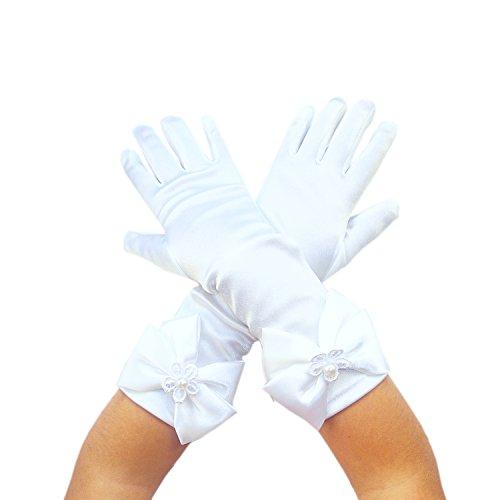 Blumenmädchen Kinder Satin Lange Handgelenk Handschuhe Brautjungfer Festzug Abschlussball (2-5 Jahre, Weiß)