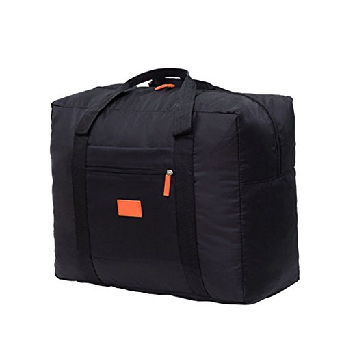 Cestval Cabin Hand Baggage Size Duffel Holdall Bag lightweight Luggage Waterproof Tintamar Tote Bag Cargo Bag Foldaway storage for Travel Camping Sports Gym Can Attach on the Handle of Suitcase(Black)