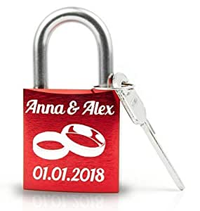 Geschenkfreude personalisiertes Liebesschloss mit Gravur und Schlüssel wahlweise mit Geschenkverpackung/rotes Schloss mit Gravur/ideales Hochzeitsgeschenk/rot