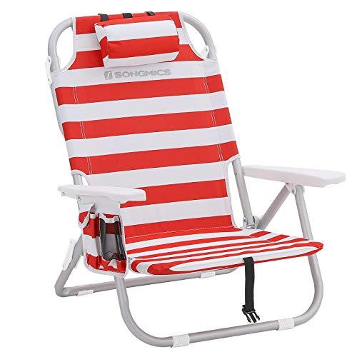 Songmics sedia da spiaggia portatile, alluminio, tasca termica e cuscino, spiaggina pieghevole, reclinabile, leggera, resistente, sedia da esterno, righe rosse e bianche gcb63bu