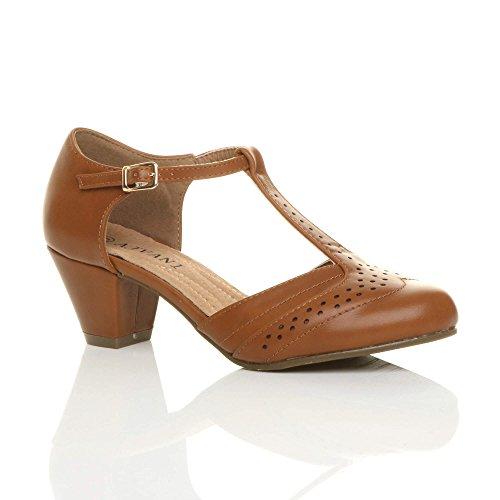 Damen Mitte Blockabsatz T-Riemen Ausgeschnitten Brogues Pumps Sandalen Größe 5 38 (Damen Pumps Größe 5)