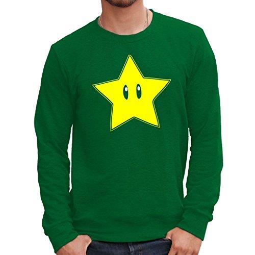 Sweatshirt Mario Stern - Games By Mush Dress Your Style - Herren-M DunkelgrŸn (Super Mario Space)