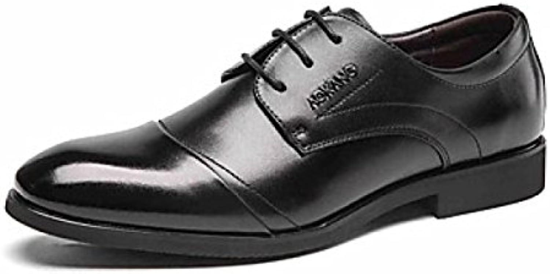 Zapatos Geniune Cuero Casual Estilo Británico Zapatos De Vestir De Hombres Negros Zapatos De Cuero De Hombres -
