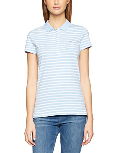 Tommy Hilfiger Damen Poloshirt New Chiara Str PQ Polo SS Mehrfarbig (Chambray Blue / Classic White 903), 36 (Herstellergröße: SM) (Shirt Striped Polo Fit Slim)