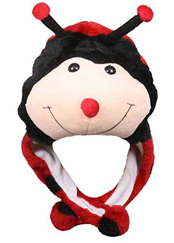 Honeystore Hut Tiermütze Wintermütze Plüschmütze Kopfbedeckungen Mützen Hüte Karneval Cosplay Spielzeug Verkleiden Marienkäfer (Prada Herren-köln)