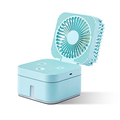 Mini ventilatore da tavolo usb ventilatore spruzza acqua, luxnovaq umidificatore piccolo elettrico ventilatori nebulizzatore portatile raffreddamento mist fan personale per ufficio casa viaggi, blu