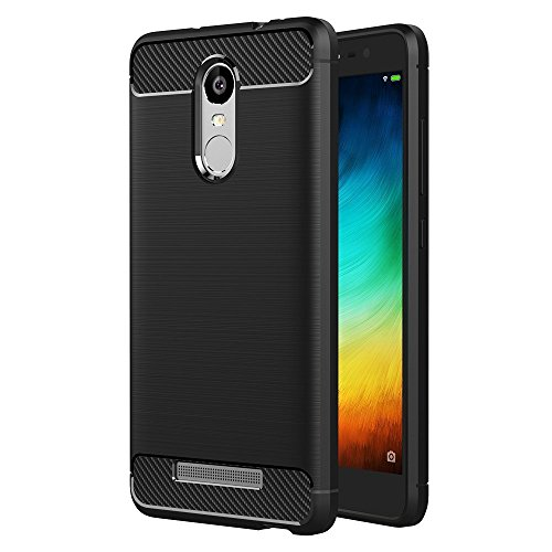 iVoler Hülle Kompatibel für Xiaomi Redmi Note 3 / Xiaomi Redmi Note 3 Pro, Carbon Faser Case Tasche Schutzhülle mit Stoßdämpfung Soft Flex TPU Silikon Handyhülle - Schwarz