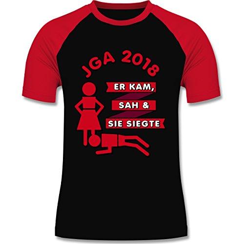 Shirtracer JGA Junggesellenabschied - Er Kam, Sah, Sie siegte JGA 2018 - Herren Baseball Shirt Schwarz/Rot