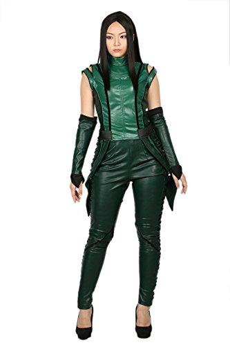 Kostüm Gamora Halloween (Halloween Damen PU-Leder ärmellose Top-Hosen Mantis Fancy Dress Outfit Cosplay Kostüm Erwachsene Anzug mit)