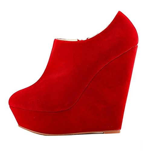 HooH Femmes Sexy Fanelle Wedge Escarpins Roma Boots Rouge