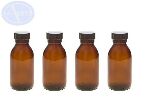 4er-PACKUNG - 100ml BRAUNGLAS-Flaschen mit SCHWARZEM