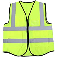 VORCOOL Chaleco de montar de ciclismo de alta visibilidad Chaleco de seguridad reflexivo de bolsillo múltiple Chaqueta para trabajo de construcción al aire libre Seguridad en el trabajo Trabajador de saneamiento de tráfico (amarillo fluorescente)