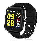 HTSmart Fitness Armband, Fitness-Tracker, Schwimmen Smart-Armbanduhr, mit Herzfrequenz-Monitor, Schrittzähler, Schlafüberwachung, IP68, wasserdicht, Bluetooth-Smartwatch für Damen, Herren, Kinder