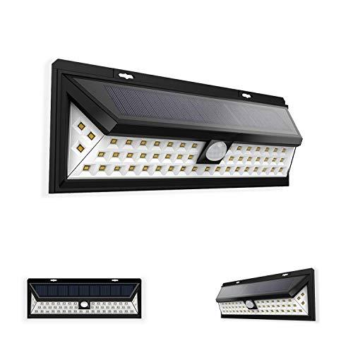 Gartenstrahler LED Solar-Außenleuchte mit Bewegungsmelder und wasserdichtem Licht LED Außen Strahler für Terrasse, Garten, Garage 54 LED Solarleuchten für Außen und 270er Weitwinkel