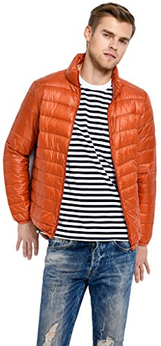 Sawadikaa Herren Ultra Leicht Verpackbar Stehkragen Winter Kissen Daunenjacke Orange