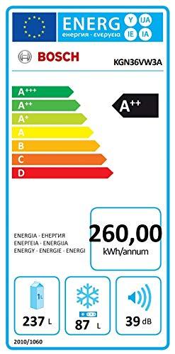 Bosch Serie 4 KGN36VW3A Independiente 324L A++ Blanco nevera y congelador - Frigorífico (324 L, SN-T, 14 kg/24h, A++, Compartimiento de zona fresca, Blanco)