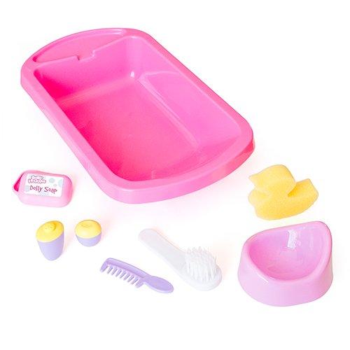 Casdon 711 - Baby Huggles bañera y accesorios de baño para muñecos de hasta 40 cm, color rosa