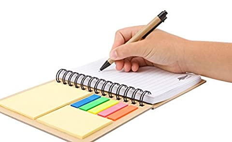 Notepad/Journal Spiral A5 Stylanote Fluoro Sticky Reminder Tabs Lined Notebook with Pen in holder Wirebound for Work, Home or Holiday for all ages. Never forget information again using your