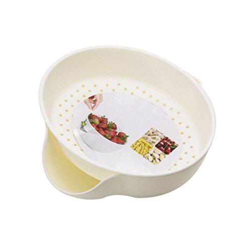 bismarckbeer doppelte Schichten Fruits, Teller, Schale Abnehmbare Snacks Behälter Gericht Ablauf Korb, plastik, weiß, Einheitsgröße -